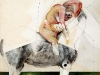thumbs 77 fenwick woman caressing a horse 1985 11x13 collage mixed media Cathie Fenwick