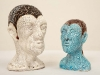 thumbs 49 poynter with maxime burrage two very small heads 1996 17x11x13 ceramic Malcolm Poynter